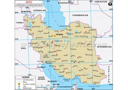 Iran Latitude and Longitude Map - Digital File