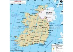 Ireland Latitude and Longitude Map - Digital File