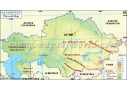 Kazakhstan Physical Map - Digital File