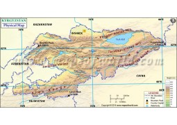 Kyrgyzstan Physical Map - Digital File