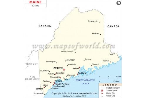 Buy Map of Maine Cities