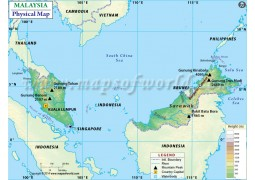 Malaysia Physical Map - Digital File