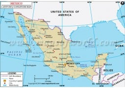 Mexico Latitude and Longitude Map