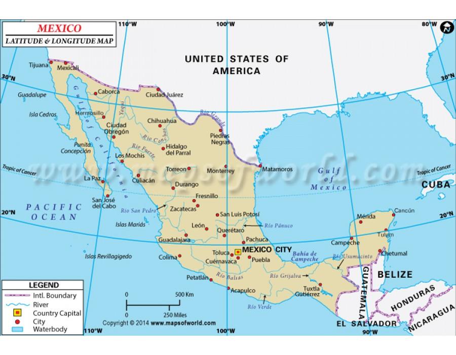 Buy Mexico Latitude And Longitude Map