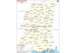 Map of Mississippi Cities - Digital File