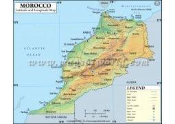 Morocco Latitude and Longitude Map - Digital File