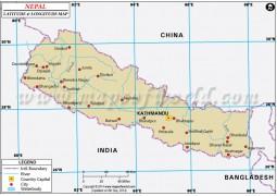 Nepal Latitude and Longitude Map - Digital File