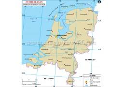 Netherlands Latitude and Longitude Map - Digital File