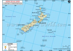 New Zealand Latitude and Longitude Map - Digital File