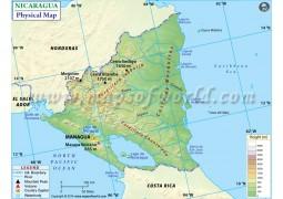 Nicaragua Physical Map - Digital File