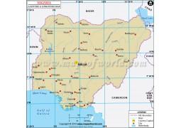 Nigeria Latitude and Longitude Map - Digital File