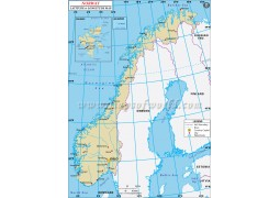 Norway Latitude and Longitude Map - Digital File