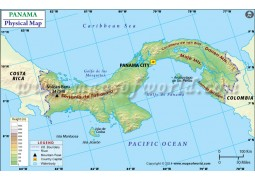 Panama Physical Map - Digital File