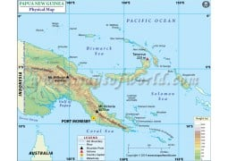 Papua New Guinea Physical Map - Digital File