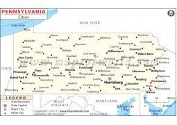 Pennsylvania Map with Cities - Digital File