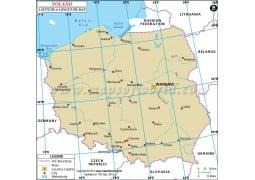 Poland Latitude and Longitude Map - Digital File
