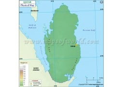 Qatar Physical Map - Digital File