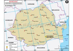 Romania Latitude and Longitude Map - Digital File