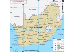 South Africa Latitude and Longitude Map - Digital File
