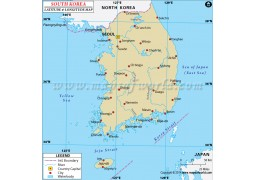 South Korea Latitude and Longitude Map - Digital File