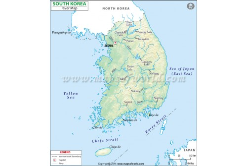 South Korea River Map