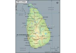 Sri Lanka Latitude and Longitude Map - Digital File