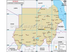 Sudan Latitude and Longitude Map - Digital File