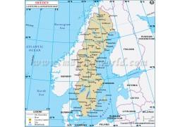 Sweden Latitude and Longitude Map - Digital File