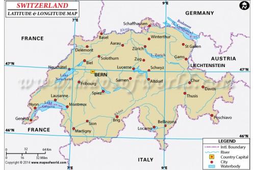 Switzerland Latitude and Longitude Map