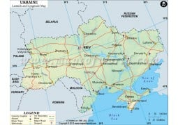 Ukraine Latitude and Longitude Map - Digital File