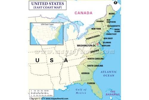 Map of East Coast USA