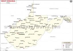 Map of  West Virginia Cities - Digital File