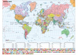 World Map with Flags (47X35 Inches)