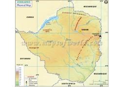 Zimbabwe Physical Map - Digital File