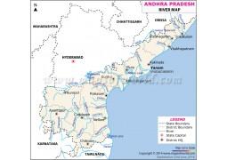 Andhra Pradesh River Map - Digital File