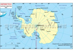 Antarctica Continent Latitude and Longitude Map - Digital File