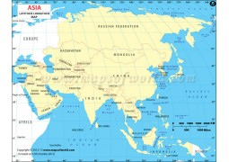Latitude and Longitude Map of Asian Continent - Digital File