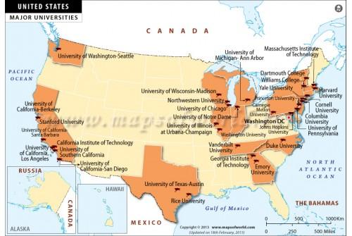 Map of Major Universities in USA