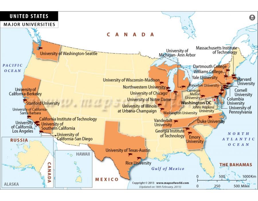 Buy Map of Major Universities in USA