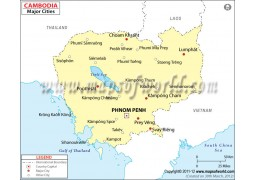 Map of Cambodia with Cities - Digital File