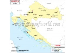 Map of Croatia with Cities