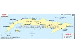 Map of Cuba with Cities - Digital File