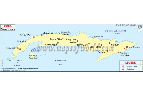 Buy Map Of Cuba With Cities - Major cities map of cuba