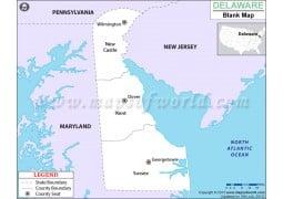 Blank Map of Delaware - Digital File