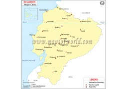 Ecuador Map with Cities - Digital File