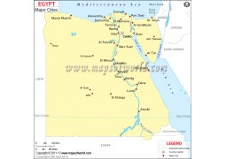Egypt Map with Cities - Digital File