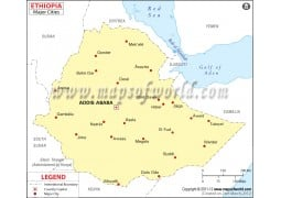 Ethiopia Map with Cities - Digital File