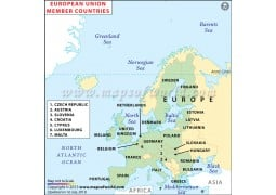 European Union Member Countries Map - Digital File