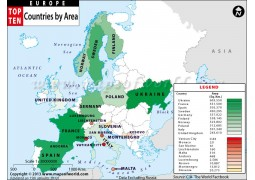 Map of European Countries by Area - Digital File