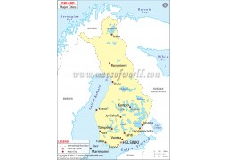 Map of Finland with Major Cities - Digital File